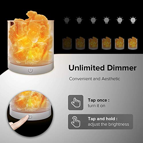 Levoit Cora Himalayan Salt Lamp, Natural Hymalain Pink Salt Rock Lamps, USB Himilian Sea Salt Crystal Night Light with Touch Dimmer Switch,3 Bulbs,UL-Listed Cord & Luxury Gift Box