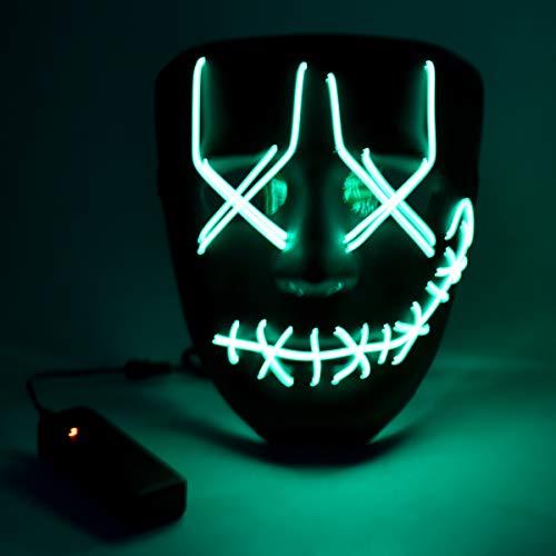 Wuudi LED Halloween Maske, Leuchtet im Dunkeln Aufhellen Masken Cosplay Kostüm für Halloween Christmas Party (grün)