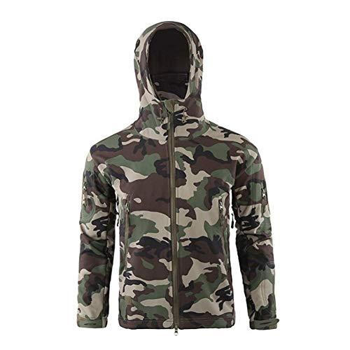 Huaheng Hombre Impermeable Resistente Al Viento Softshell Polar Cortavientos Abrigo con Capucha para Aire Libre - Camuflage, M