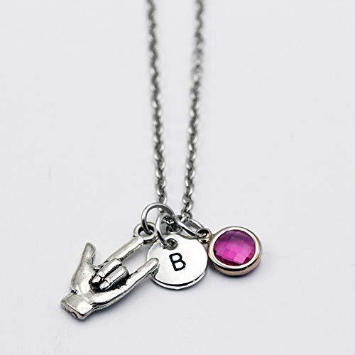 zyh1229 Liefde hanger/geboorte steen ketting/gepersonaliseerde hanger ketting/vrouwen mode teken taal-trompet_C