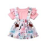Carolilly Conjunto de ropa de verano para niña, 2 piezas, ropa de verano, diseño de conejos de dibujos animados Estilo F. 6-12 Meses
