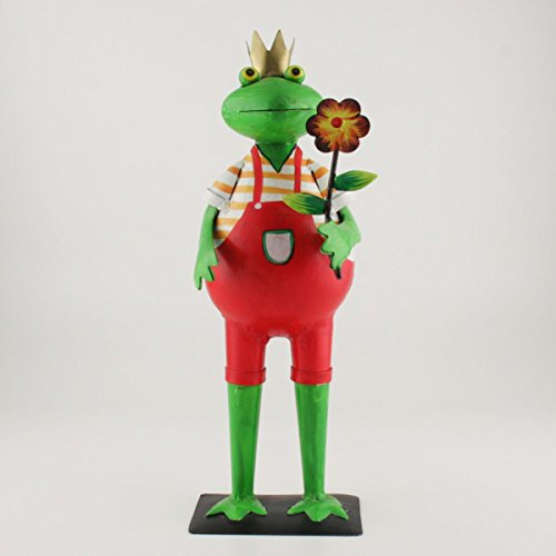 Exner Metall Frosch KANU mit Blume und roter Hose   EX-223780