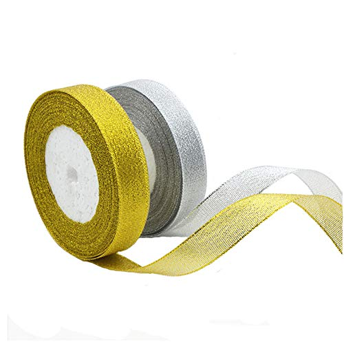 Yyuezhi goud- en zilveren glitterband 2 rollen 1 cm organza band zilver en goud pailletten band geschenk lint decoratie band kerstboom decoratie party decoratie