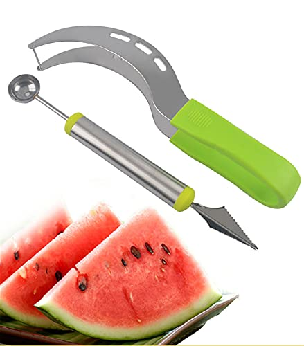 S-SNAIL-OO 2pcs Stainless Steel Watermelon Slicer Cutter Knife Corer Fruit Tools Kitchen Accessories Gadgets Watermelon Spoons, Stainless Steel Watermelon Slicer Cutter Knife Corer Fruit