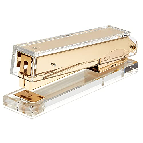 Acrylic Clear Stapler - Gold Stapler Makes a Cool Office Desk Accessory for Office, Home, or School - Uses Standard Staples