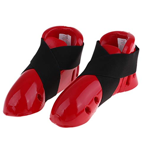 LEIPUPA Unisex Adult Taekwondo Foot Gear Karate Sparring Shoes for MMA Training - Red, M