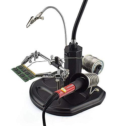 IREANJ Lupas de 4X 2,5 Veces el LED de Soldadura Lupa de la Mano Amiga de Escritorio Lupa Soldadura de reparación Auxiliar de Herramientas de Soldadura Herramientas