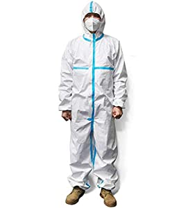 Disposable Protective Coverall Suit Long Front Zipper Elastic Waistband & Cuffs Isolation Suit/1PC (M)