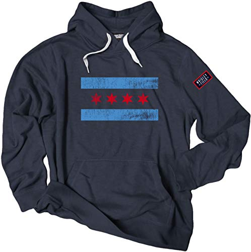 Chicago Flag Wrigley Field 1914 Crossover Pullover Hoodie (Large) Navy
