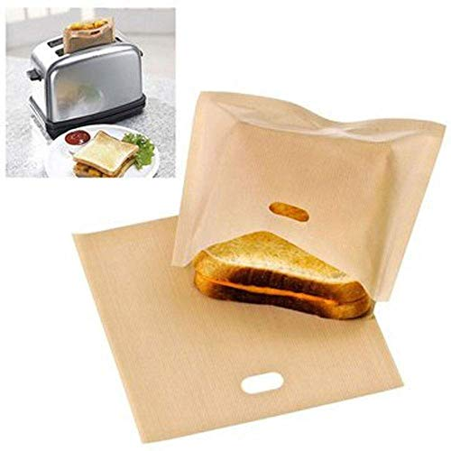 SpiderJuice® 2Pc Multipurpose Reusable Non-Stick Heatproof Washable PTFE Coated Glass Fabric Toaster Bags for Hygiene Mess Free Food Bread Grilled Cheese Sandwiches Chicken Pizza Pastries