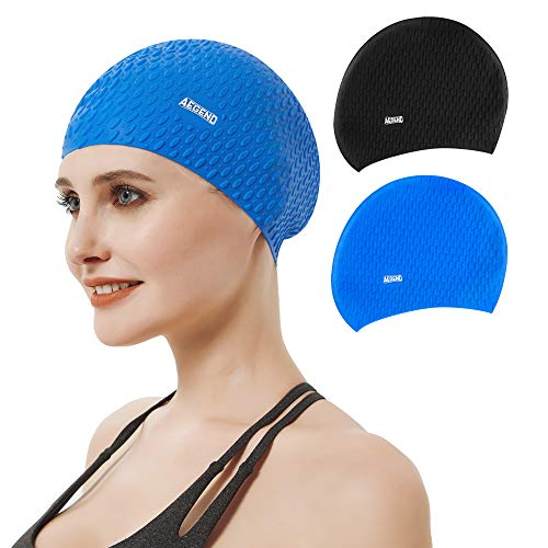 Aegend Silicone Swim Cap for Long Hair (2 Pack), Durable Unisex Swimming Caps for Women Men Youth, Unique Embossed Anti-Slip Design, Black&Blue