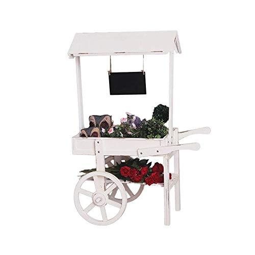 DHTOMC-installatie steiger ruimte rustieke plant standaard van houten wagen, bloemenstandaard met tafel decoratieve rand kleine creatief winkeldecoratie props voor binnen en buiten gebruik