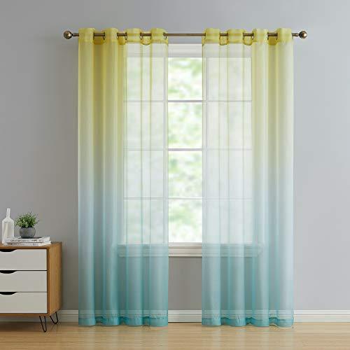 2 Pack: GoodGram Semi Sheer Ombre Chic Grommet Curtain Panels - Assorted Colors (Citrus Multi)
