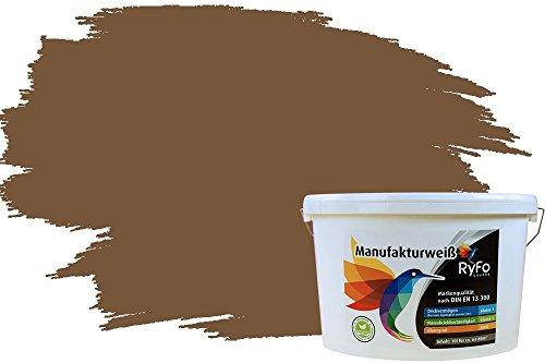 RyFo Colors Bunte Wandfarbe Manufakturweiß Dunkelbraun 10l - weitere Braun Farbtöne und Größen erhältlich, Deckkraft Klasse 1, Nassabrieb Klasse 1