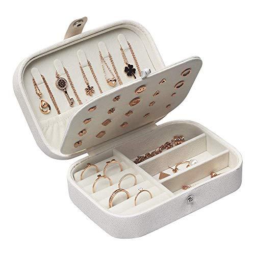 JSBelle Caja de joyería, Caja de cuero del organizador de la joyería del viaje del portable para las pulseras del collar de los pendientes de los anillos (Blanco)