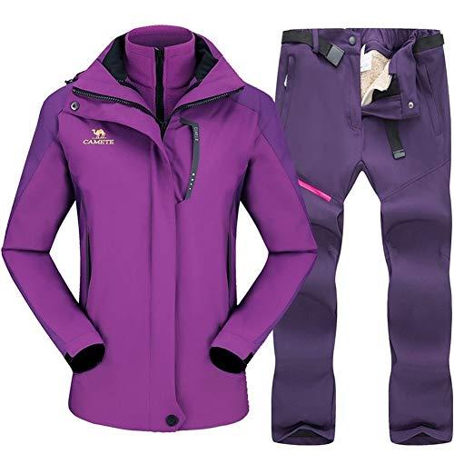 Skianzug Skifahren Anzug for Frauen Snowboard-Jacke Sets verdicken Windundurchlässig Frauen Winter Anzug im Freien atmungsaktive wasserdichte Anoraks zu Wärmen ( Farbe : Purple Purple , Size : 4XL )