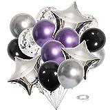 Ousuga - Globos de látex de 12 pulgadas gruesos metálicos, diseño de estrella, hoja de confeti, globos de colores brillantes para compromiso, boda, fiesta de cumpleaños, decoración de cumpleaños