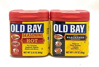 Old Bay Seasoning Bundle with 1 Old Bay Seasoning Hot  2.12 oz  and 1 Old Bay with Blackened Seasoning  1.75 oz  Bundle 1 of each