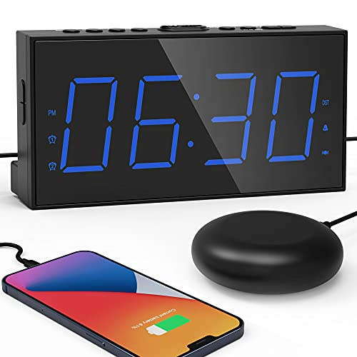 Extra Loud Alarm Clock with Bed Shaker 7.5' Large LED Display with 5 Brightness Dimmer Vibrating Dual Alarm Clock for Heavy Sleepers,Hard of Hearing, Deaf with USB Charger,Snooze,Battery Backup (Blue)