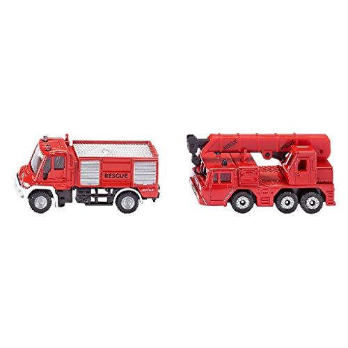 SIKU 1661, Feuerwehr-Set, Metall/Kunststoff, Rot, Spielkombination, Bewegliche Teile