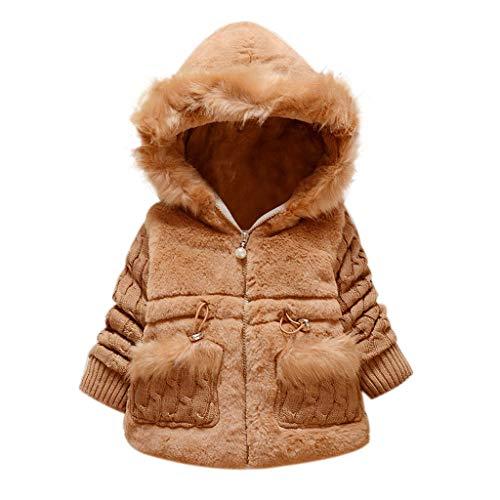routinfly-Abbigliamento per bambini Abrigo de niña de lana con capucha de piel, chaqueta con cremallera para niño de invierno, conejo, capucha, abrigo de invierno para bebé Beige Size: 1-2 anni