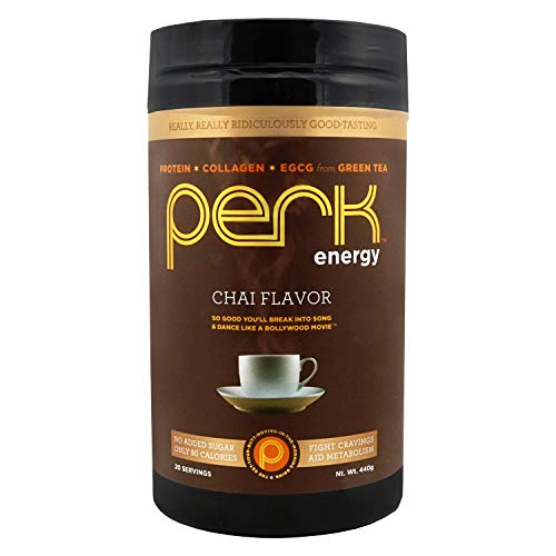Perk Energy - Chai Flavored Beverage Mix with Zero added Sugar - Provides a Boost in Energy and is Packed with Protein, Collagen, and EGCG from Green Tea. 1 Pack.