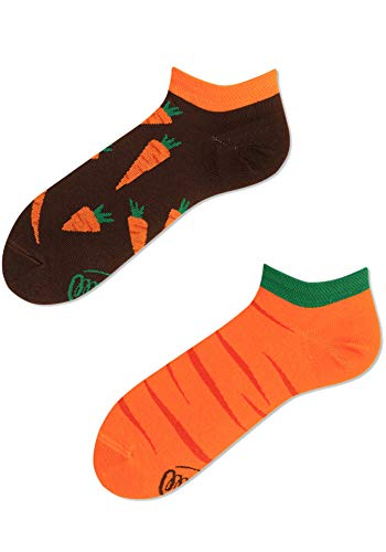 Many Mornings Garden Carrot Low Calcetines cortos divertidos con zanahorias, verduras, vitaminas, salud (39-42)