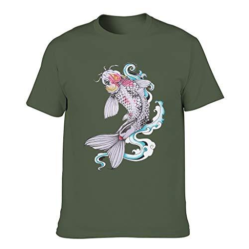 Knowikonwn Herren Lucky Koi Baumwolle T-Shirts Japanische Kultur Mode Hemd Gr. M, armee-grün