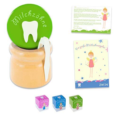 ZWEN Caja para dientes de leche de madera con tapa de rosca, pinzas y carta para dientes de leche, libro electrónico (idioma español no garantizado), para niñas y niños (verde)