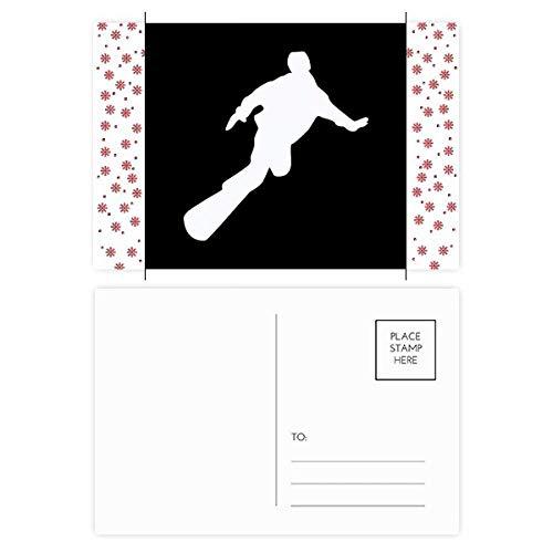 Skateboarding Sport Zwart Silhouette Kerstmis Bloem Postkaart Thanks Card Mailing 20 stks