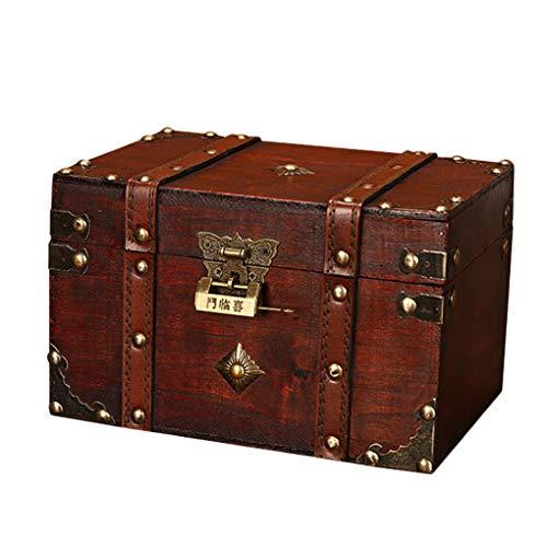 Mingtongli Tronco de almacenamiento con tablero compuesto de bloqueo Habitación Sala Cofre del tesoro Colección Gabinete