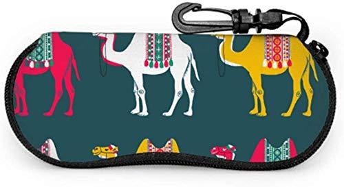 Camel African Animal In Desert Gafas de sol Estuche para mujer Estuches para anteojos para hombres Estuche blando de neopreno portátil ligero con cremallera Estuche para gafas de sol para niños