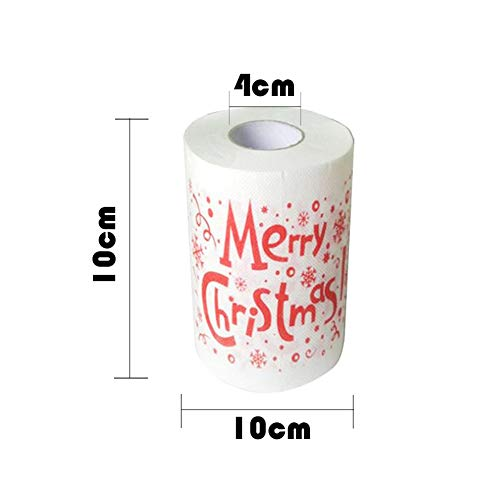 MeterMall Home Kerst Papier Handdoek Toiletpapier Mooie Sneeuwman Santa Hat Sneeuw Gedrukt Roll Papier Servet 4. Nederlands