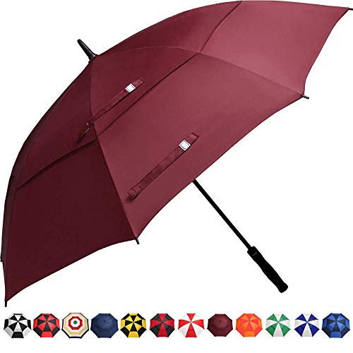 BAGAIL Golf Umbrella 68/62/58 Inch Large Oversize Double Canopy Vented Automatic Open Stick Umbrellas for Men and Women(Red,58 inch)