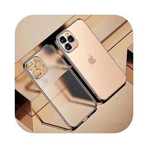 Carcasa de TPU transparente para iPhone 12 11 Pro Max Mini iPhone X XR XS 7 8 Plus 6 6S SE 2020 suave transparente cubierta de teléfono dorado para iPhone XR