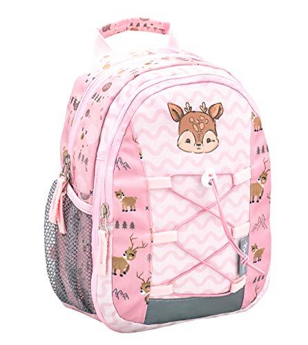 Belmil Kinderrucksack Mädchen für 1-3 Jährige - Super Leichte 260 g/Kindergarten/Krippenrucksack Kindergartentasche Kindertasche/REH, Deer/Pink Rosa (305-9 Woodland Deer)