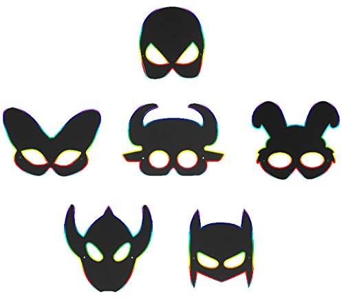 Kitchen-dream Dibujo Scratch Paper, 4 Piezas Scratch Art Niños, Scratch Rainbow Masks con Cordones Elásticos y Lápiz Óptico de Madera, Magic Scratch Paper Art para Niños DIY Animal Masks (Negro)