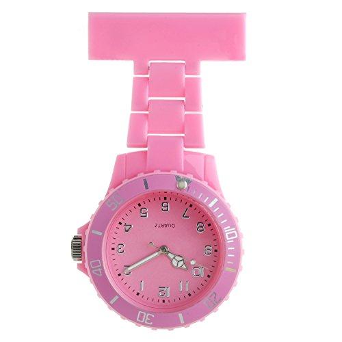 Ellemka - Mujer Hombre Enfermera | Reloj Enfermeria | Pantalla Analógica | Movimiento de Cuarzo | Cinta de Suspensión de Plástico ABS | NS2102 - Pink Rosa