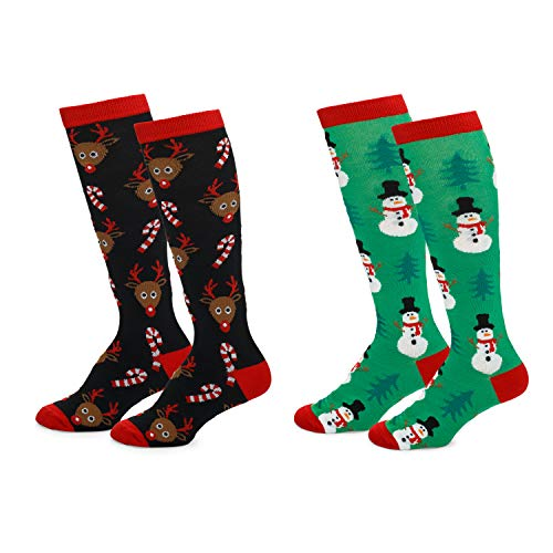 Womens Fun Colorful Festive Novelty Holiday Christmas Hanukkah Socks-Knee Highs-2 Pairs-OSFM Shoes (4-10)-Reindeer Candy Canes/Green Snowman