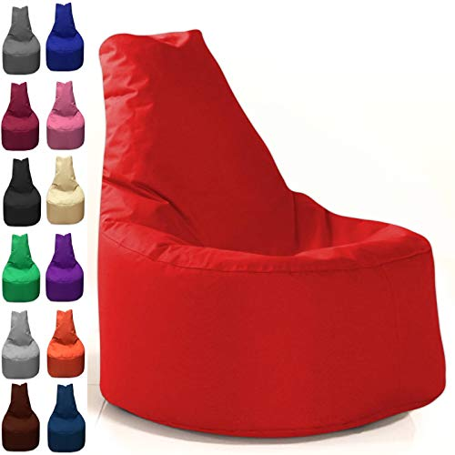 Sitzbag Sitzsack Sessel XL - XXL für Kinder und Erwachsene - In & Outdoor Sitzsäcke Kissen Sofa Hocker Sitzkissen Bodenkissen (XL - 68cm Durchmesser, Rot)