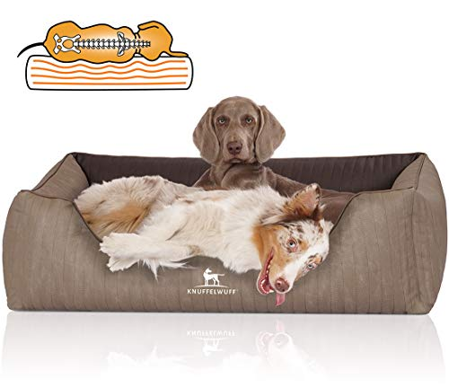 Knuffelwuff 14181-012 Orthopädisches Hundebett Outlander aus Laser-gestepptem Kunstleder XXL 120 x 85cm Natur/braun, 8.2 kg