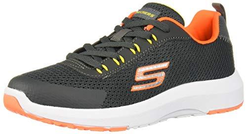 Skechers Kids Boys' Dynamic Tread 98150L Sneaker, Charcoal/Orange, 4 Medium US Big Kid