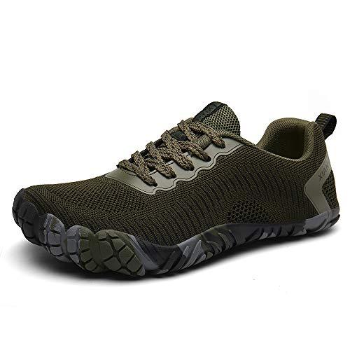 XIANV Men Women Trail Running Barefoot Shoes Gym Walking Trail Beach Lightweight Hiking Water Shoes Athletic Slip-On Shoes (11.5, Green)