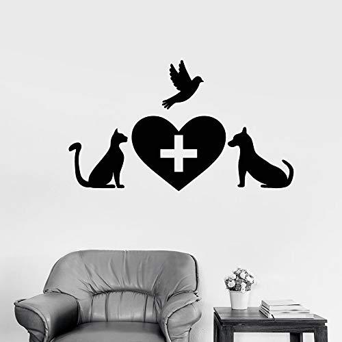 Animal pared calcomanía clínica veterinaria mascota vinilo pegatina gato perro pájaro amor corazón decoración