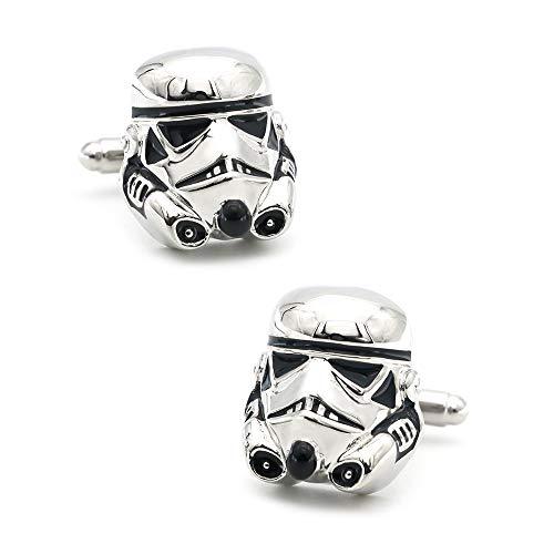 JWGD Film Design-Star Wars Stormtrooper-Manschettenknöpfe for Männer Qualität Kupfer Material weiße Farbe Manschettenknöpfe & Retail