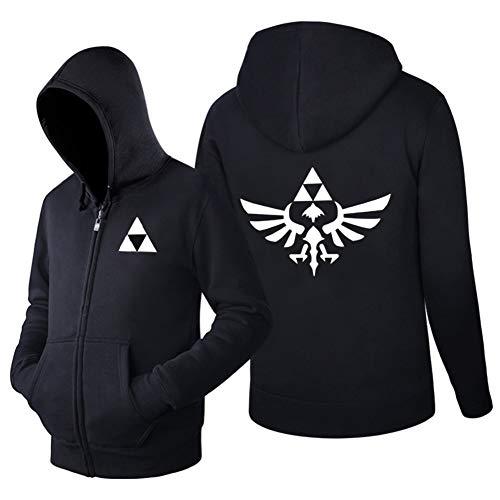 Fengstore Unisex Legend of Zelda Triforce Symbol Full Cotton Hoodie 3D Printed Sweatshirt Zipper Jacket (Medium, Black)