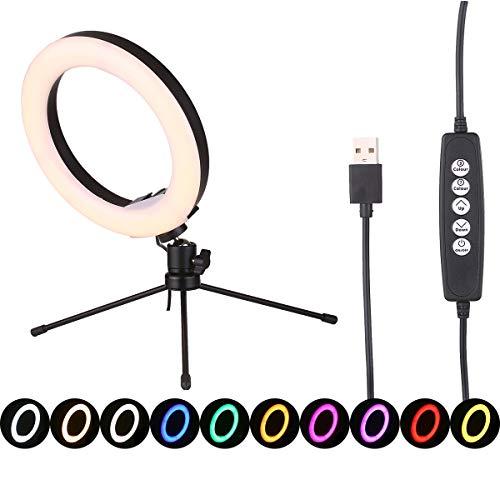 Andoer Luz de anel para selfie regulável de 8 polegadas Lâmpada de mesa alimentada por USB Luz anelar de LED Nightlight com tripé flexível Nível de brilho 10 Modo de luz quente / neutra / fria 7 cores RGB para retratos fotográficos