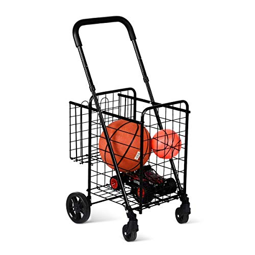Folding Shopping Cart for Grocery Book Luggage Travel with Double Basket and Swivel Wheels