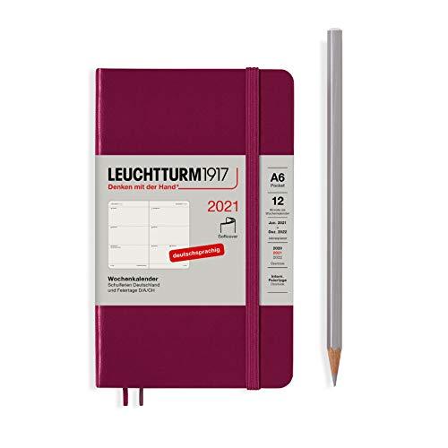 LEUCHTTURM1917 362044 Port Red, Wochenkalender, Softcover, Pocket (A6) 2021, Deutsch