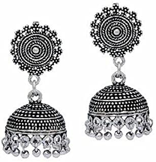 Loyal Ethnic .925 Silver Oxidized Plated Traditional Handmade Enamel Earring Jewelry & Watches Fashion Jewelry